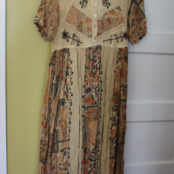 Hippie Style Gauze Dress.  Embroidered.  Babydoll.  Patchwork.