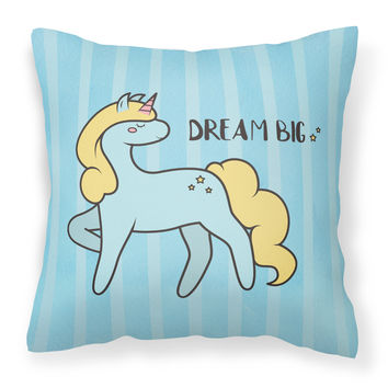 Nursery Dream Big Unicorn Fabric Decorative Pillow BB7471PW1414