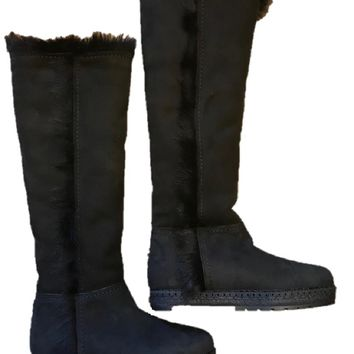 PRADA Women's Black Shearling Leather Fur Lined Tall Boots