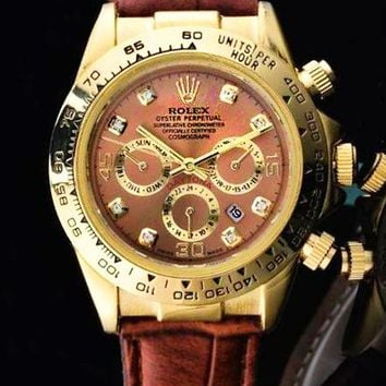 Rolex Fashion Women Men Casual Business Sport Movement Lovers Watch Brown Gold Shell I-SBHY-WSL