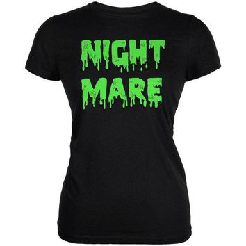 PEAPGQ9 Halloween Nightmare Horror Slime Dripping Text Juniors Soft T Shirt