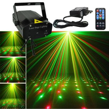 Mini Black Shell Portable IR Remote Red Green Laser Projector Lights DJ KTV Home Xmas Party Dsico LED Stage Lighting I100B