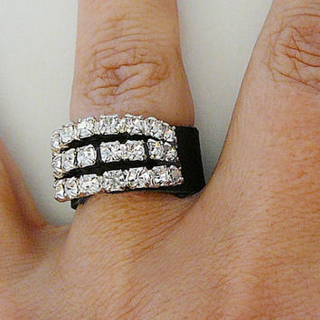 Leather Bling Ring, Vintage Rhinestone, Black, Clear Statement