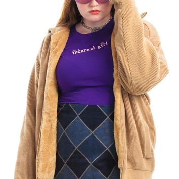 Vintage 70's Faux Fur Lined Zip-Front Sweater - XL/2X/3X/4X