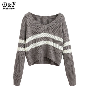 Grey Striped V Neck Crop Tops Female Long Sleeve Pullovers 2016 Autumn Casual Knit Wear Sweater