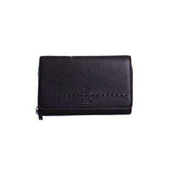 DCCKG2C Tory Burch McGraw Flat Wallet Leather Crossbody in Black