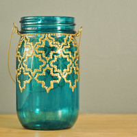 Mason Jar Lantern Hand Painted Moroccan Design on Teal by LITdecor