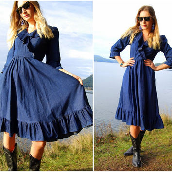 70's Denim Dress Barbara Barbara Dark Blue Cotton Dress Empire Waist Full Skirt Ruffled Blue Jean Western Shirt Dress Small Medium