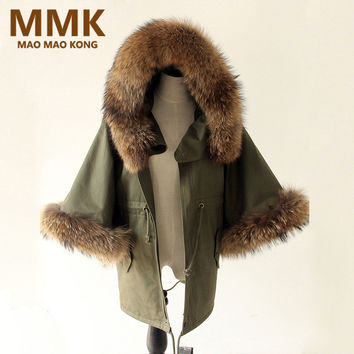 Women Winter Coat Jacket Raccoon Large Fur Collar Army Green Casual Overcoat Flare Sleeve Cloak Cotton-padded Outerwear