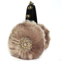 Sand earmuffs/faux fur ear muffs/scream queens earmuffs/embellished earmuffs/ooak earmuffs/bling/ear warmers/plush earmuffs/fluffy earmuffs