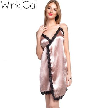 Wink Gal Summer Party Dresses Short Slip Dress Sexy Lace Silk Nightgowns Women Open Back 3258