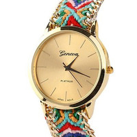 Women Knitted Braided Weaved Rope Band Bracelet Quartz Dial Wrist Watch