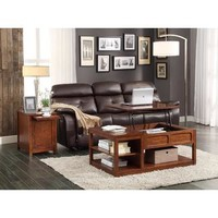 Homelegance Booker Cocktail Table w/ Lift Top on Casters in Warm Brown