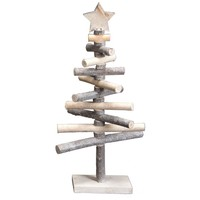 Driftwood and Branch Christmas Tree with Star - 16-in