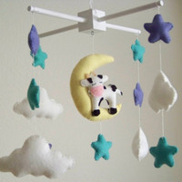 Cow, moon and stars baby mobile, baby mobile, star baby mobile, star mobile, mint baby mobile, cow mobile, crib mobile, cloud nursery decor