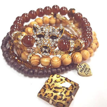 Leopard Beaded Bracelet Set, Cheetah, Stretchy, Brown Beaded Bracelets, Fall Jewelry, Seed Beads, Womens, Handmade, Custom Beaded Jewelry