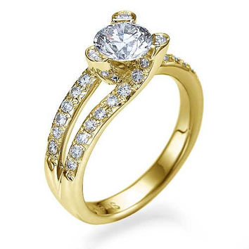 Yellow Gold Tension Set Solitaire Engagement Ring Pave Set - 1ct Diamond