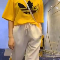 """""""Adidas"""" Woman's Leisure  Fashion Letter Printing Spell Color Short Sleeve Trousers Two-Piece Set Casual Wear"""