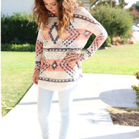 In the Tribe Sweater Tunic - Peach