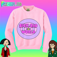 KAWAII Sick Sad World MTV 90s Daria Pink Sweatshirt // Pastel Grunge // Pastel Goth // fASHLIN