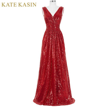 Kate Kasin Long Bridesmaid Dresses Red Silver Pink Black Gold Sequins Wedding Party Dresses for Bridesmaids 2017 Prom Gown 0199