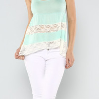 Cropped Mint & Lace Country Tank Top