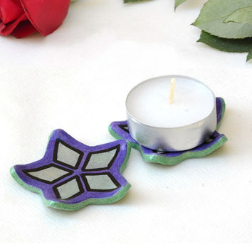 Candle Holders - set of 2 tea light holders, tea bag plate, shower favor, ceramic home decor, Passover gift