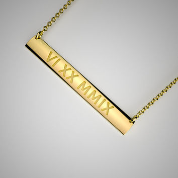 Solid Gold Bar Necklace - 14k Yellow, Rose, White Gold. Personalized Jewelry. Roman Numeral, Text, Date, Coordinates, Symbol. Back Engraving
