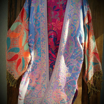 Kimono Coat Boho Chic VTG Long Fringe Magic Gypsy Bohemian Hippie Jacket Robe Duster India Paisley Pashmina Coverup Fairy M L