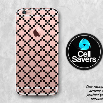 Black Checker Pattern Clear iPhone 6s Case iPhone 6 Case iPhone 6 Plus Case iPhone 6s Plus iPhone 5c Case iPhone 5 Clear Case Cute Pattern