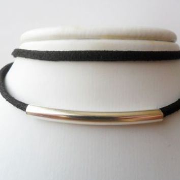 Black double suede tube choker necklace size 28 - 33 cm to plus size 51 - 55 cm | eBay