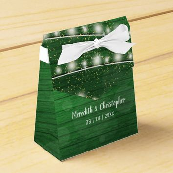 Rustic Green Wood String Lights Mason Jar Wedding Favor Box
