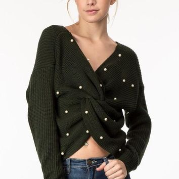 Pearl Embellished Cross Front Sweater