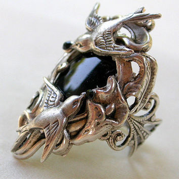 Floral Silver Ring Black Onyx by LeBoudoirNoir on Etsy