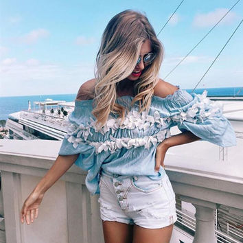 Blue Off the Shoulder Floral Embroidery Ruffled Blouse
