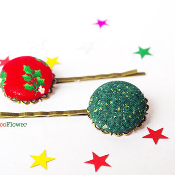Christmas hair pins - Ugly Sweater Party Hair accessories for women - Christmas tree Holly hair piece - Winter bobby pins