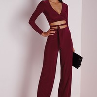 SLINKY WIDE LEG TROUSERS BURGUNDY
