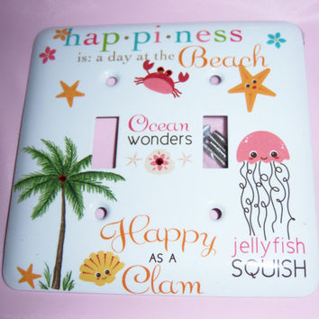 Happy as a Clam steel double light switch by MoanasUniqueDesigns