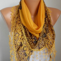 Scarf Shawl  -  Cotton Weddings Scarves -  Cowl  with  Lace Edge - Orange
