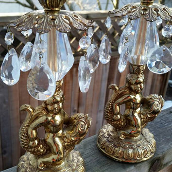 MCM//Cherub//Koi Fish// bronze chandelier// Candle stick holder set// Crystal Prisms// Asian inspired// Sea Mermaid Fish Serpent// Nautical.