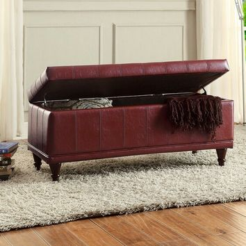Home Elegance 4730RED Afton collection red bycast vinyl upholstered storage ottoman bench with tufted seat