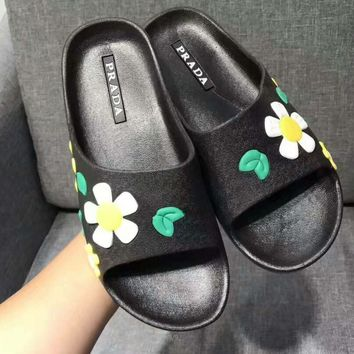 PRADA flower Casual Sandal Slipper Shoes Flip flop yellow green H-ALXY JL