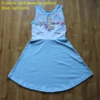 Girls Summer Unicorn Dress Princess Cosply Birthday Dresses Costume for Kids Clothing Children Party Dresses