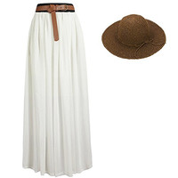 eYourlife2012 Women's Pleated Chiffon Maxi Boho Beach Skirt With Straw Fold Hat (White)