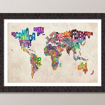 Typographic Text Map of the World Art Print 18x24 inch by artPause