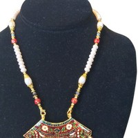 Indian Jewelry Gold Red Meenakari White Red Glass Beaded Thewa Necklace