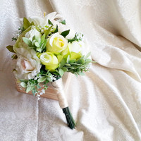 Best quality green and creme silk flowers peonies roses lily wedding BIG bouquet satin Handle, greenery natural