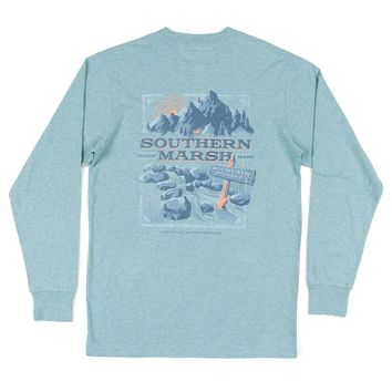 Long Sleeve Mountain Weekend Tee in Washed Moss Blue by Southern Marsh