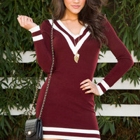 On Beat Stripe Dress - Burgundy