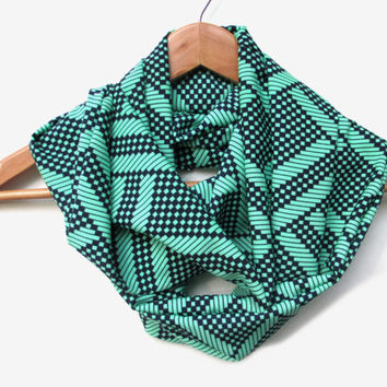 Navy Diamond Squares on Mint Background Infinity Scarf // Navy and Mint // Mint and Navy // Peach Skin // Fashion Scarf // Mint // Navy //